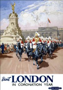 Visit London in Coronation Year. 1953 BR Travel Poster by Gordon Nicoll